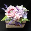 Megköszönöm virág box, Dekoráció, Esküvő, Csokor, Virágkötés, Rózsa,levendula,finom árnyalatok-kedves örök csokor,amelyek örömet tudsz szerezni. Méretei -széless..., Meska