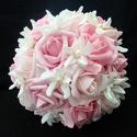 Jázmin kedvenc menyasszonyi csokor, Esküvő, Esküvői csokor, Virágkötés, Három árnyalatú rózsaszín habrózsából kötöttem ezt a csokrot,fehér gyöngyközepű jázminnal tűzdeltem..., Meska