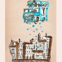 Fagyisautó Budapest felett - számozott művészi nyomat, print, saját grafikámról, A4, Képzőművészet, Otthon, lakberendezés, Illusztráció, Festészet, LIMITÁLT számú digitális reprodukció saját grafikámról, melyből mindössze 120 db nyomat készült.  F..., Meska