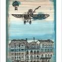 Repülő Budapest felett számozott művészi nyomat, illusztráció, print,A5, Képzőművészet, Otthon, lakberendezés, Illusztráció, Napi festmény, kép, Festészet, Limitált számú digitális reprodukció saját grafikámról, melyből mindössze 120 db nyomat készült.  F..., Meska