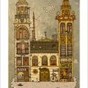 Kaktuszok háza - Illusztráció, számozott művészi nyomat, print, saját grafikámról, A5, Képzőművészet, Otthon, lakberendezés, Illusztráció, Napi festmény, kép, Festészet, Limitált számú digitális reprodukció saját grafikámról, melyből mindössze 120 db nyomat készült.  F..., Meska
