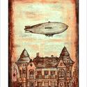 Zeppelin a Móricz-on, Illusztráció, print, saját grafikámról, A5, Képzőművészet, Otthon, lakberendezés, Férfiaknak, Illusztráció, Festészet, Limitált számú digitális reprodukció saját grafikámról, melyből mindössze 120 db nyomat készült.  F..., Meska