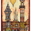 Léghajó Budapesten - számozott művészi nyomat, print, saját grafikámról, A4, Képzőművészet, Otthon, lakberendezés, Illusztráció, Grafika, Festészet, Limitált számú, sorszámozott digitális reprodukció saját grafikámról, melyből mindössze 120 db nyom..., Meska