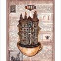 Egy csésze Budapest, Illusztráció, számozott művészi nyomat, print, saját grafikámról, A5, Képzőművészet, Otthon, lakberendezés, Férfiaknak, Illusztráció, Festészet, Limitált számú digitális reprodukció saját grafikámról, melyből mindössze 120 db nyomat készült.  F..., Meska