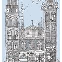 Kaktuszok háza, Illusztráció, számozott művészi nyomat, print, saját grafikámról, A5 méretben, Otthon & lakás, Képzőművészet, Illusztráció, Lakberendezés, Napi festmény, kép, Limitált számú digitális reprodukció saját grafikámról, melyből mindössze 120 db nyomat készült.  FA..., Meska