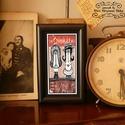 Bajusz Őr Pár: A békés otthon védelmezője, Szignózott, keretezett nyomat, 6cm x11 cm, Képzőművészet, Férfiaknak, Illusztráció, Legénylakás, Fotó, grafika, rajz, illusztráció, Mindenmás, Keretezett művészi nyomat a békés otthon kedvelőinek.  Saját grafikámmal.  Kerettel együtt.  Hátold..., Meska