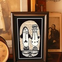 Bajusz Őr Pár: A békés otthon védelmezője, Szignózott, keretezett nyomat, 10cm x16 cm, Képzőművészet, Otthon, lakberendezés, Illusztráció, Falikép, Fotó, grafika, rajz, illusztráció, Mindenmás, Keretezett művészi nyomat a békés otthon kedvelőinek.  Saját grafikámmal.  Kerettel együtt.  Hátold..., Meska