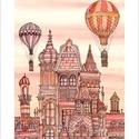 Budapest építése - illusztráció, print saját grafikámról, A5, Képzőművészet, Esküvő, Illusztráció, Grafika, Festészet, LIMITÁLT számú digitális reprodukció saját grafikámról, melyből mindössze 120 db nyomat készült.  F..., Meska