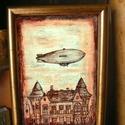Zeppelin - szignózott nyomat arany színű keretben, Otthon & lakás, Képzőművészet, Illusztráció, Lakberendezés, Falikép, Reprodukció, művészi nyomat saját grafikámról, kerettel együtt.   KÉP MÉRETE: 11,5 cm x 16 cm KERETT..., Meska
