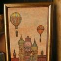 Budapest építése estefelé - szignózott nyomat színes keretben, Otthon & lakás, Képzőművészet, Illusztráció, Lakberendezés, Falikép, Reprodukció, művészi nyomat saját grafikámról, kerettel együtt.   KÉP MÉRETE: 11,5 cm x 16 cm KERETT..., Meska