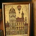 Budapest Cukrászda - szignózott nyomat színes keretben, Otthon & lakás, Képzőművészet, Illusztráció, Lakberendezés, Falikép, Reprodukció, művészi nyomat saját grafikámról, kerettel együtt.   KÉP MÉRETE: 11,5 cm x 16 cm KERETT..., Meska