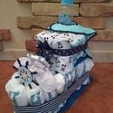 Pelenka torta fiús, Baba-mama-gyerek, Baba-mama kellék, Mindenmás, Motor formájú pelenka torta baba születésre, keresztelőre, tejfakasztó bulira. A motor 50db pelenká..., Meska