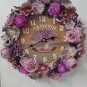 Virágos óra, Dekoráció, Otthon, lakberendezés, Dísz, Falióra, óra, 25 cm-es alapra készült óra, körben selyem-és szárazvirágokkal díszítve. Kérhető különb..., Meska
