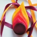 Láng - medál süthető gyurmából, Ékszer, Medál, Nyaklánc, Bordó, piros, téglaszín, narancssárga és napsárga FIMO gyurmából készült ötrétegű medál. Méretei: 3,..., Meska