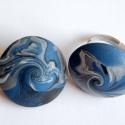 Foltoskák ékszerszett süthető gyurmából, Kék, ezüst és fehér FIMO gyurmából készült...