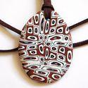 Kubizmus medál, Ékszer, Medál, Nyaklánc, Fekete, fehér és vörösréz FIMO ékszergyurmából készítettem ezt az ovális formájú medált, mérete: 4 x..., Meska