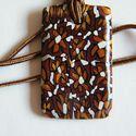 Csokivirág medál süthető gyurmából, Vörösréz, arany, fekete és fehér FIMO ékszer...