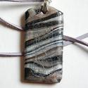 Ezüst márvány antikolt medál, Ékszer, Medál, Nyaklánc, Fehér, ezüst és fekete FIMO ékszergyurmából készítettem ezt a medált, amit kisütés után antikoltam k..., Meska
