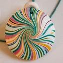 Tavaszi hangulat medál, Ékszer, Medál, Nyaklánc, Fehér, napsárga, piros és zöld FIMO ékszergyurmából készítettem ezt a lencse alakú, csíkos medált, a..., Meska