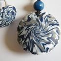 Kék virág ékszerszett, Ékszer, Ékszerszett, Medál, Gyűrű, Fehér, kék és ezüst FIMO ékszergyurmából különleges mintázatú lencséket készítettem, majd medállá és..., Meska