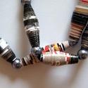 Tejeskávé nyaklánc újrahasznosított papírból, Ékszer, Nyaklánc, A nyaklánc hengeres gyöngyei újrahasznosított papírokból (reklámanyagok, prospektusok) készültek.  A..., Meska