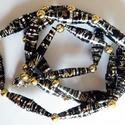 Nap és éj nyaklánc újrahasznosított papírból, Ékszer, Nyaklánc, Maradék fényes papírokból (eredetileg karácsonyi csomagolópapír volt) készítettem 3-3,5 cm hosszú, 7..., Meska