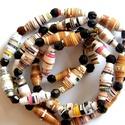 Őszi színek nyaklánc újrahasznosított papírból, A nyaklánc hengeres gyöngyei újrahasznosított ...