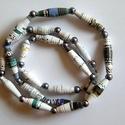 Szürke elegancia nyaklánc újrahasznosított papírból, Ékszer, Medál, Nyaklánc, A nyaklánc hengeres gyöngyei újrahasznosított papírokból (reklámanyagok, prospektusok) készültek.  A..., Meska