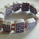 Mini kockás karkötő, Ékszer, Karkötő, Gyerekeknek. Rózsaszín, lila és fehér FIMO ékszergyurmából apró (1,3 x 1 x 0,4 cm-es) téglákat készí..., Meska