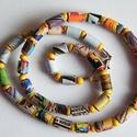 Derűs délelőtt nyaklánc újrahasznosított papírból, Ékszer, Nyaklánc, A nyaklánc hengeres gyöngyei újrahasznosított papírokból (reklámanyagok, prospektusok) készültek.  A..., Meska