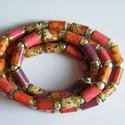 Virágtenger nyaklánc újrahasznosított papírból, A nyaklánc hengeres gyöngyei újrahasznosított ...