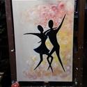 Táncosok, Képzőművészet, Festmény, Akril, Festészet, Modern stílusú akril 50x70 cm feszített vászonra.  K. Beatrix, Meska