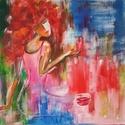 """""""Mámor"""", Képzőművészet, Festmény, Akril, Festészet, Modern akril festmény 40x40 cm feszített vászonra.   M. Andrea, Meska"""