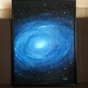 """""""Galaxis"""", Képzőművészet, Festmény, Akril, Festészet, 72x52 cm akril festmény feszített vászonra, fekete kerettel.  K. Beatrix, Meska"""