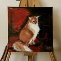 Akril szőrcsomó, Képzőművészet, Festmény, Akril, Festészet, Akril macska festmény 30x30 cm feszített vásznon.   Ugyan nem dorombol, de ha vágyik egy házi kedve..., Meska