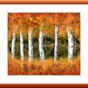 """"""" Őszi ragyogás """" , Képzőművészet, Festmény, Akril, Méret, anyag, technika :  17x17 cm-es felületkezelt  farost, akril, festőkés.  Címkék: festmény, akr..., Meska"""