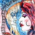 Hajnal , Képzőművészet, Festmény, Akvarell, Festmény vegyes technika, A/4-es, ( 20 x 30 cm ) 150-es Canson akvarell lap, akvarell -filc. Címkék: festmény, akvarell, hangu..., Meska