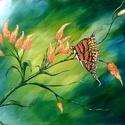 Narancsos királypille , Képzőművészet, Festmény, Akril, Festészet, 50 x 40 cm-es felületkezelt  farost, akril, ecset.  Hangulatkép, ahogyan jött, a pillangó anatómiáj..., Meska