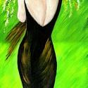 Lány csokorral , Képzőművészet, Festmény, Akril, Festészet, 15 x 40 cm-es farost, akril, ecset. Címkék: festmény, akril, hangulatkép   Végtelenül egyszerű,  mé..., Meska