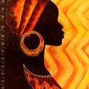 Afrikai nő ékesítve , Képzőművészet, Festmény, Akril, Festészet, 29 x 36 cm-es farost lap, akril. Címkék: festmény, akril, hangulatkép, design   Afrikai hangulatú f..., Meska