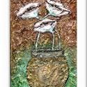 Három virágos , Képzőművészet, Festmény, Akril, Festészet, 20 x 30 cm-es feszített vászon, akril festés, textúra anyagok, ecset használatával.  Címkék: festmé..., Meska