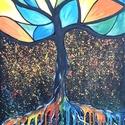 Mozaik- fás, Képzőművészet, Festmény, Akril, 40 x 60 cm-es vásznon  akril festés .  Címkék: festmény, akril, táj, szürreális, hangulatké..., Meska