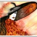 Ősz-lány, Képzőművészet, Festmény, Akvarell, 40 x 30 cm-es méretű, 300-as Canson akvarell lapon akvarell festés.  Őszi hangulatú festegetés..., Meska
