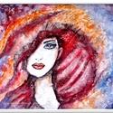 Párizs lány , Képzőművészet, Festmény, Akril, 43 x 39 cm-es OSB lapon akril festés, 3 D paszta alappal, lakk fedőréteggel. A textúrák most ig..., Meska