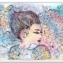 Japán lányka , Képzőművészet, Festmény, Akvarell, 50 x 35 cm-es, 350-es Fabriano akvarell lapon , akvarell festés, tus-fehér zselés toll kiemeléss..., Meska