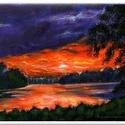 Lilán hajnalodik , Képzőművészet, Festmény, Akril, 30 x 20 cm-es feszített vásznon akril festés, lakk fedőréteg.  Eredeti festést adom, nem nyoma..., Meska