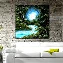 Fehér Holdas éj , Képzőművészet, Festmény, Festmény vegyes technika, Saját ötletű,  akrillal készült  festményem 50 x 40 cm-es vakrámára feszített vászonra ké..., Meska