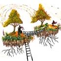 Kiszakadt szigetek , Képzőművészet, Festmény, Festmény vegyes technika, Saját ötletű és kivitelezésű akril festés 50 x 35 cm-es vakrámára feszített vásznon kivá..., Meska