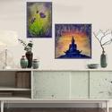 Lila-pasztell virágos , Képzőművészet, Festmény, Akril, 25 x 35 cm-es Gesso alapozó-és textúra pasztával kezelt bútorlapon akril festés :)   Saját ö..., Meska