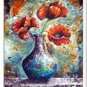 Világ - virágai 2. , Képzőművészet, Festmény, Akril, 33 x 40 cm-es, Gesso felületkezelt bútorlapon akril festés, festőkéssel.  A festmény Emerico Toth Re..., Meska